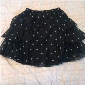 H&M - Black white polka dot ruffle skirt